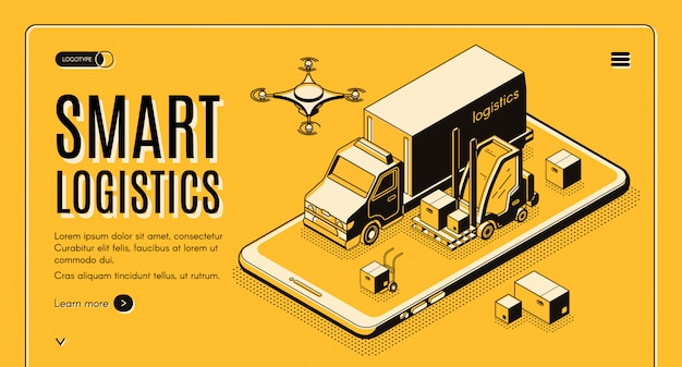 Serviço de entrega comercial, empresa de logística de negócios tecnologias inteligentes web isométrica vector bandeira Vetor grátis