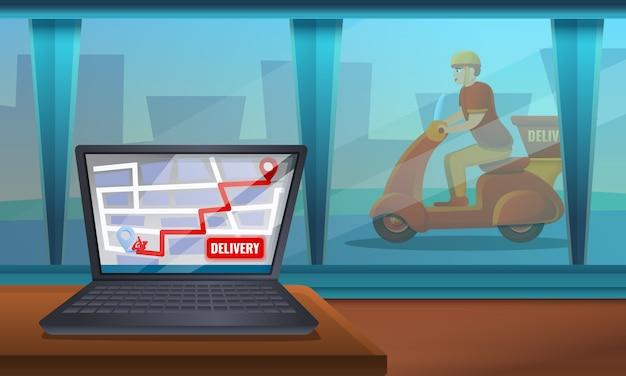 Serviço de entrega de comida na web Vetor Premium