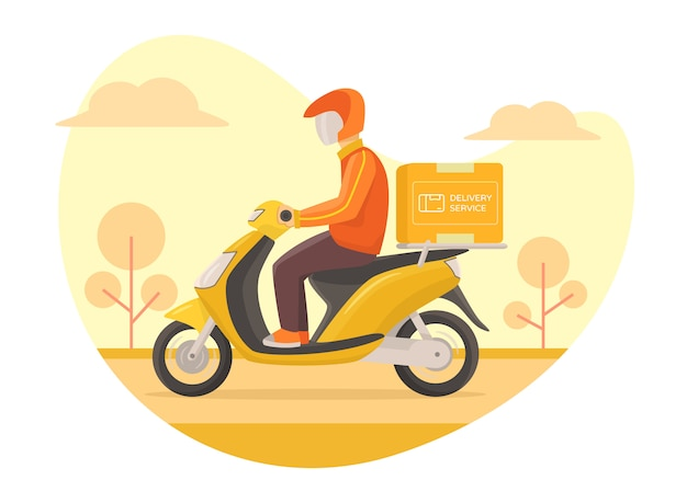 Serviço de entrega de correio scooter de condução rápida Vetor Premium