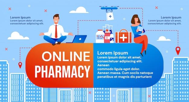 Serviço de entrega de medicamentos on-line e farmácias Vetor Premium