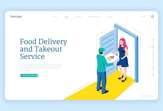 Serviço de entrega e take away de comida Vetor grátis