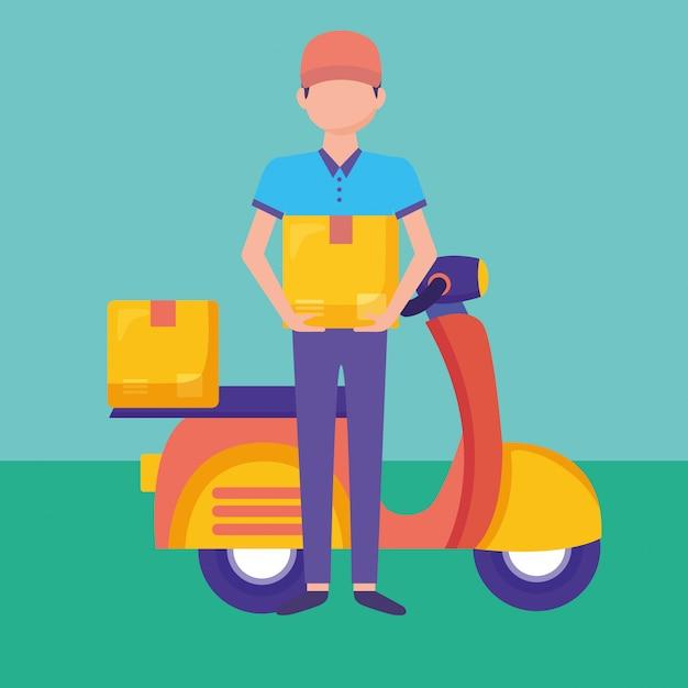 Serviço de entrega logística com ilustração de correio e moto Vetor Premium