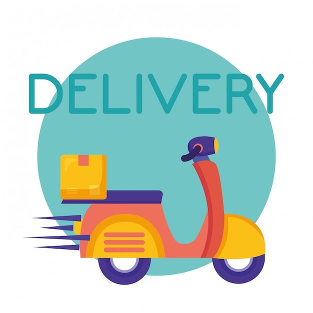 Serviço de entrega logística com ilustração de moto Vetor Premium