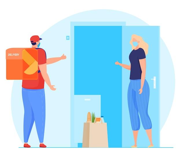 Serviço de entrega. o mensageiro com máscara deixa o pacote na porta, transferência sem contato de pacotes, quarentena. Vetor Premium