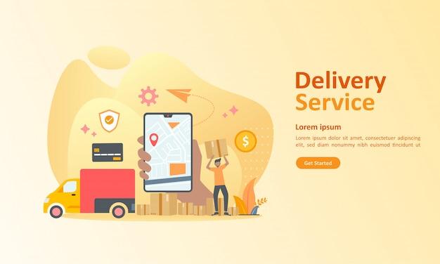 Serviço de entrega online em todo o mundo Vetor Premium