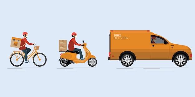 Serviço de entrega online. Vetor Premium