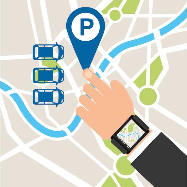 Serviço de estacionamento, mapa de toque Vetor grátis