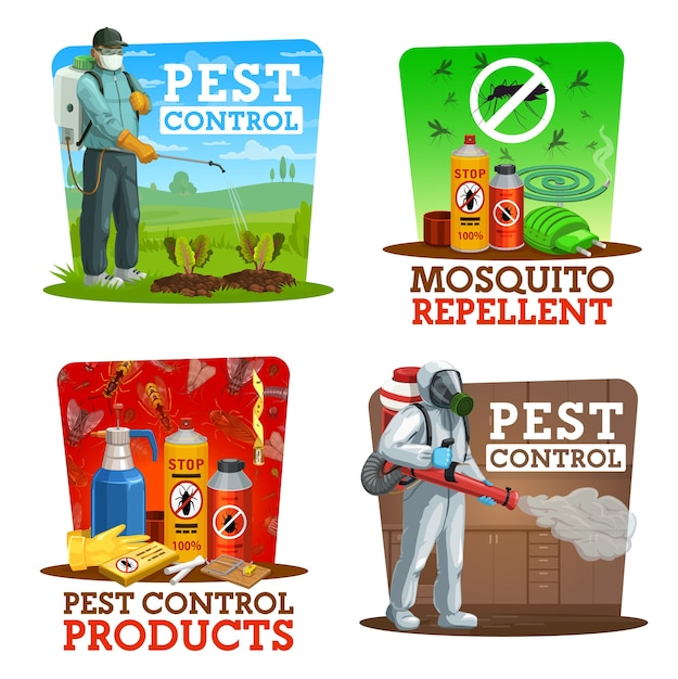 Serviço de extermínio de insetos em casa e jardins Vetor Premium
