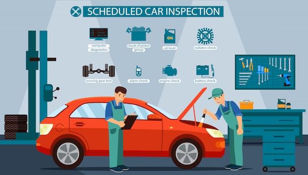 Serviço de inspeção de veículos agendados. Vetor Premium