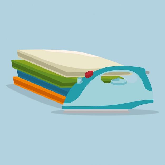 Serviço de lavanderia elétrico de roupas de ferro Vetor Premium