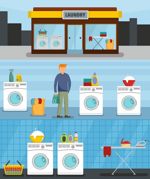 Serviço de lavanderia Vetor Premium
