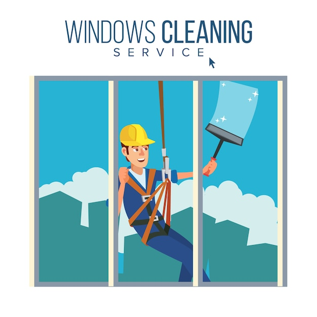 Serviço de limpeza de arranha-céus Vetor Premium