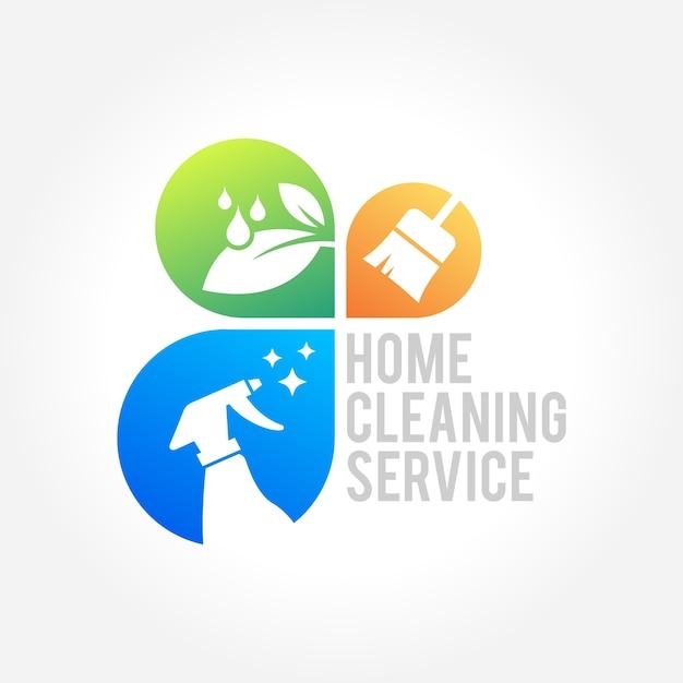 Serviço de limpeza doméstica design de negócios Vetor Premium