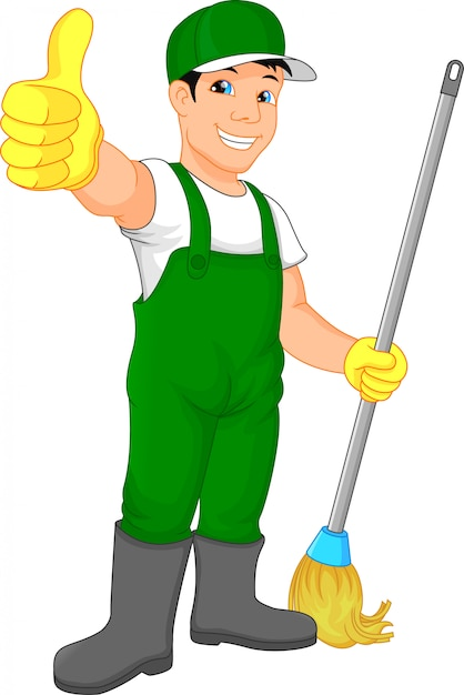 Serviço de limpeza polegar para cima Vetor Premium