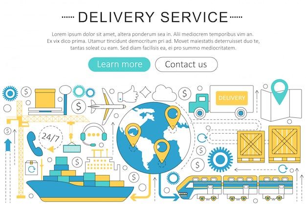Serviço de logística de transporte de carga de entrega Vetor Premium