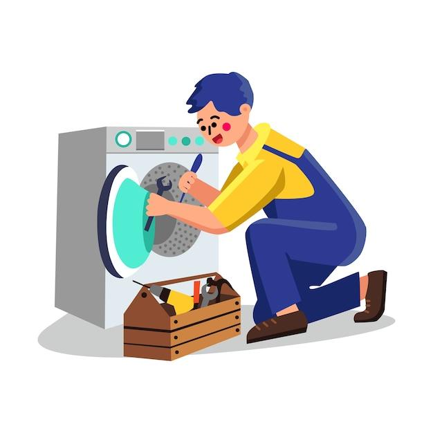 Serviço de máquina de lavar, conserto de encanador Vetor Premium
