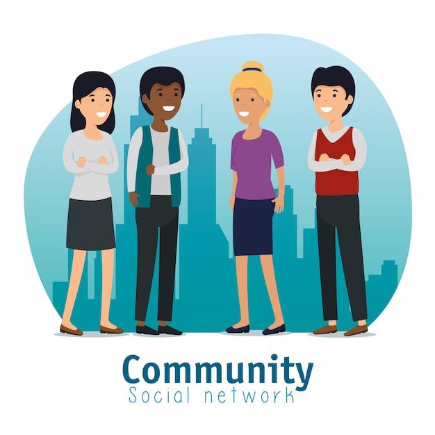 Serviço de mensagem social de pessoas da comunidade Vetor grátis
