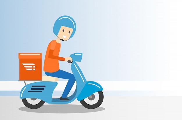 Serviço de moto entrega menino passeio scooter - ilustração vetorial Vetor Premium