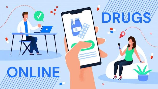 Serviço de pedido de medicamentos on-line via aplicativo móvel Vetor Premium
