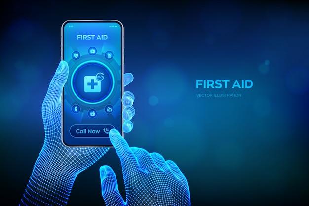 Serviço de primeiros socorros. conceito de tecnologia de internet de suporte médico on-line. ligação de emergência. closeup smartphone nas mãos de wireframe. Vetor Premium