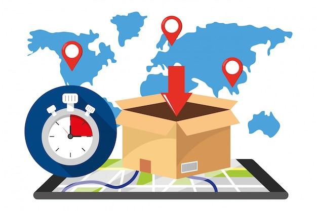 Serviço de rastreamento de entrega Vetor Premium
