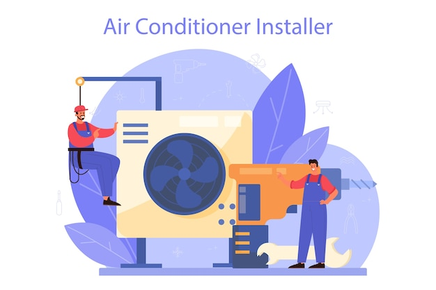 Serviço de reparação e instalação de ar condicionado. Vetor Premium