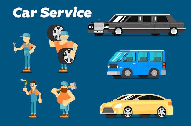 Serviço de reparo de carro, personagens e carros Vetor Premium
