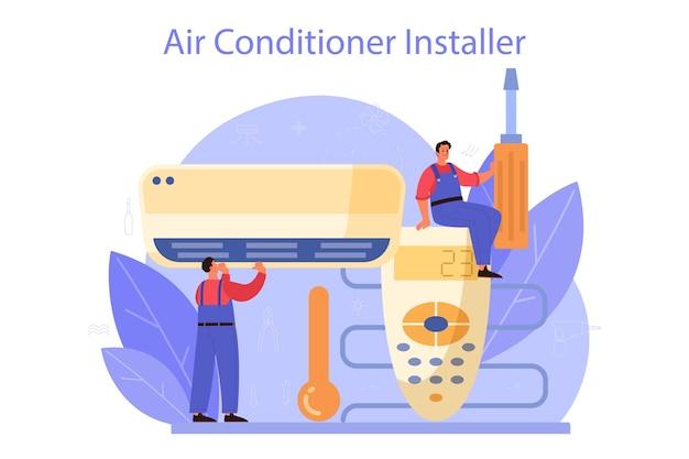 Serviço de reparo e instalação de ar condicionado Vetor Premium