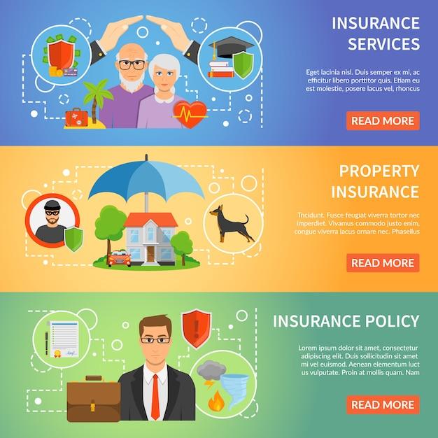 Serviço de seguro 3 conjunto de banners plana Vetor grátis