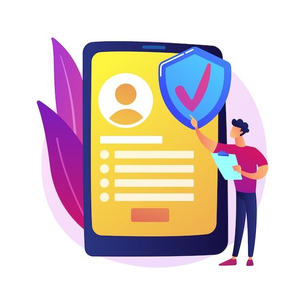 Serviço de seguro sob demanda. seguradora digital, aplicativo móvel, modelo de negócios inovador. cliente feminino solicitando apólice de seguro online Vetor grátis