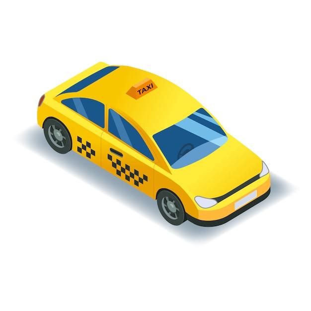 Serviço de táxi isométrico carro transporte, táxi amarelo ícone. Vetor Premium