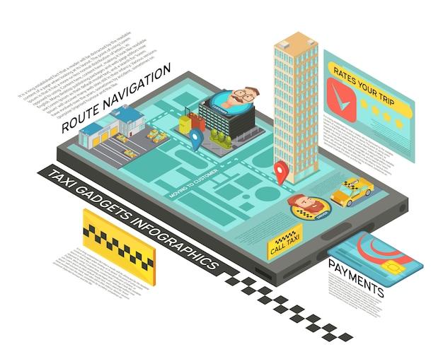Serviço de táxi on-line isométrica infográficos com navegação de rota na tela do gadget, pagamento e classificação ilustração vetorial Vetor grátis
