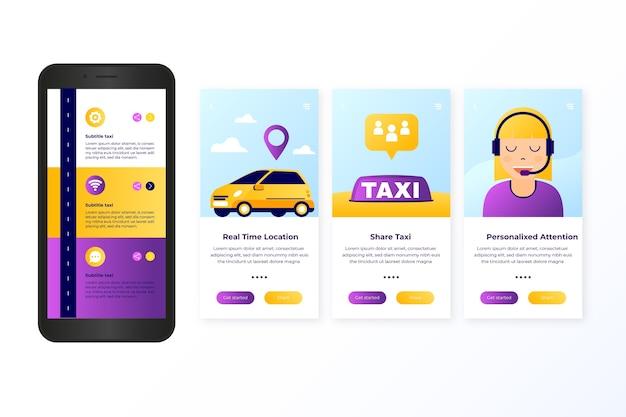 Serviço de táxi onboarding app tela conceito Vetor grátis