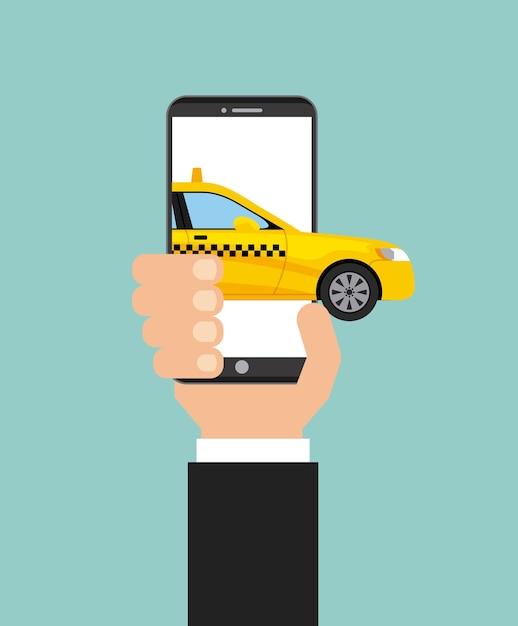 Serviço de táxi transporte público app tecnologia Vetor Premium