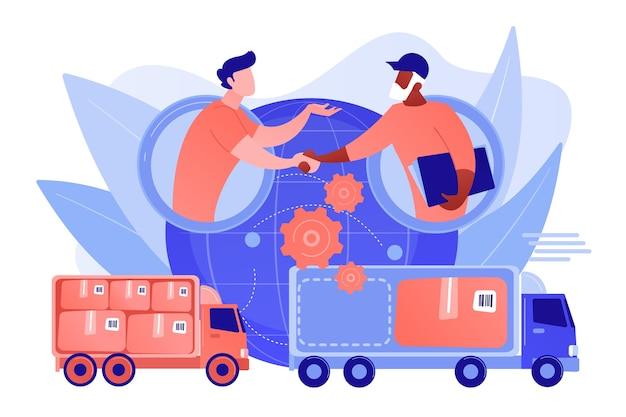 Serviço de transporte mundial, distribuição internacional. logística colaborativa, parceiros da cadeia de suprimentos, conceito de otimização de custos de frete. ilustração de vetor isolado de coral rosa Vetor grátis