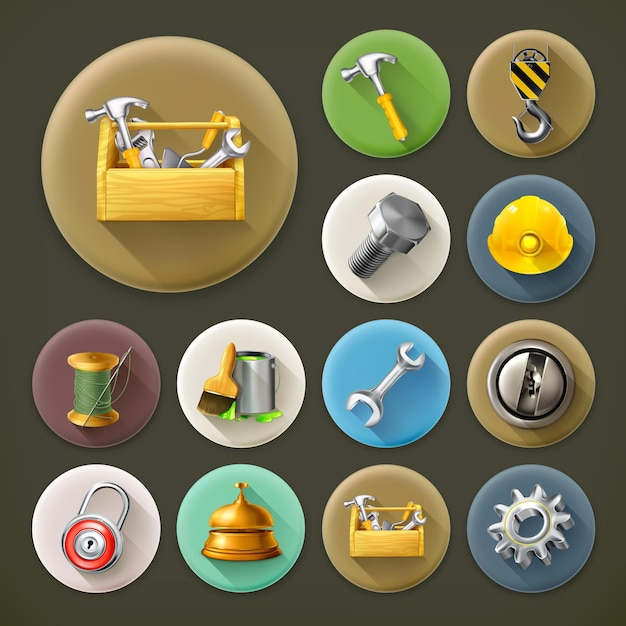 Serviço e reparo, conjunto de ícones de sombra longa Vetor Premium