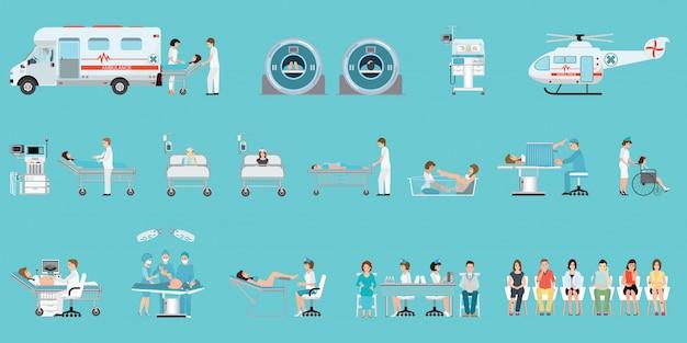 Serviço médico com equipe médica e pacientes diferentes situações definidas no hospital. Vetor Premium