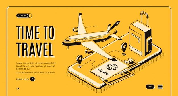 Serviço on-line, aplicativo móvel para viajantes e turistas isométrica vector web banner Vetor grátis