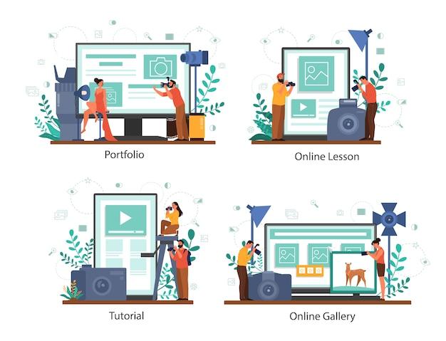 Serviço on-line de fotógrafo ou plataforma em conjunto de conceito de dispositivo diferente. ocupação artística. curso de fotografia, portfólio, galeria. Vetor Premium
