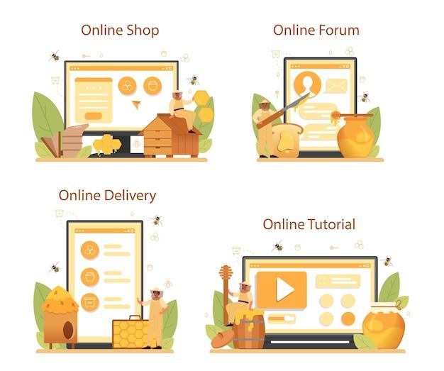 Serviço on-line de hiver ou apicultor ou conjunto de plataforma. Vetor Premium