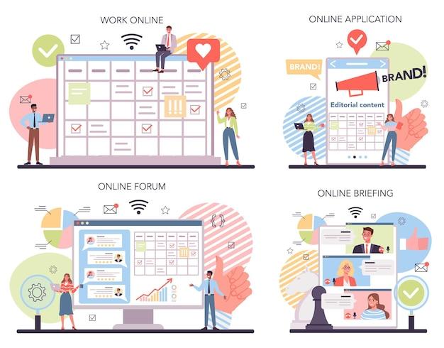 Serviço online de campanha de marca ou conjunto de plataforma Vetor Premium