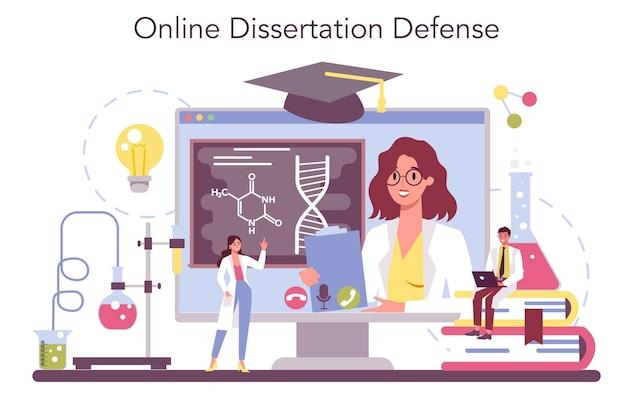 Serviço online de ciência química ou conjunto de plataforma. experiência científica em laboratório. Vetor Premium