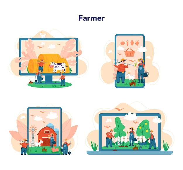 Serviço online de fazendeiro ou plataforma em conjunto de conceito de dispositivo diferente. agricultores trabalhando no campo. vista do campo de verão, conceito de agricultura. Vetor Premium