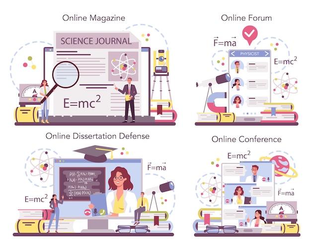 Serviço online de físico ou conjunto de plataformas. os cientistas exploram eletricidade, magnetismo, ondas de luz e forças. Vetor Premium