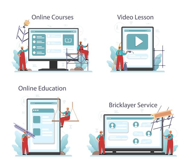 Serviço online de instalador ou instalador ou conjunto de plataforma. Vetor Premium