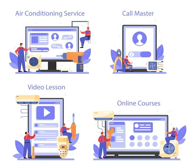 Serviço online de reparo e instalação de ar condicionado ou conjunto de plataforma Vetor Premium