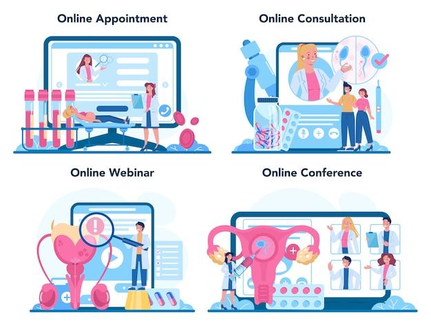Serviço online de reprodutologista ou conjunto de plataformas. Vetor Premium