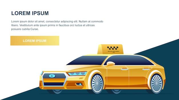 Serviço online taxi amarelo Vetor Premium
