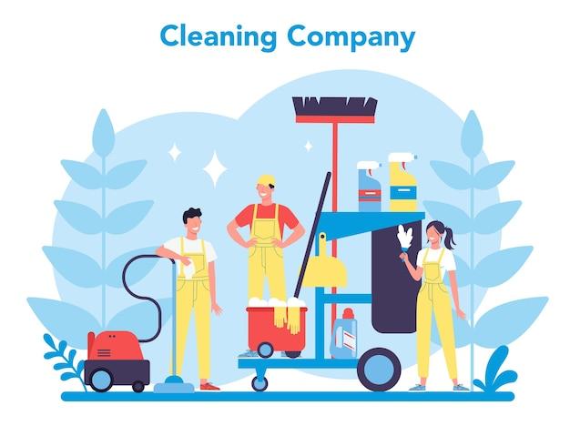 Serviço ou empresa de limpeza. mulher e homem fazendo trabalhos domésticos. ocupação profissional. zelador lavando chão e móveis. Vetor Premium
