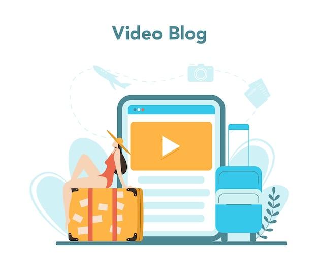 Serviço ou plataforma online de agência de viagens. trabalhador de escritório que vende passagens, cruzeiros, passagens aéreas ou passagens ferroviárias. blog de vídeo. Vetor Premium